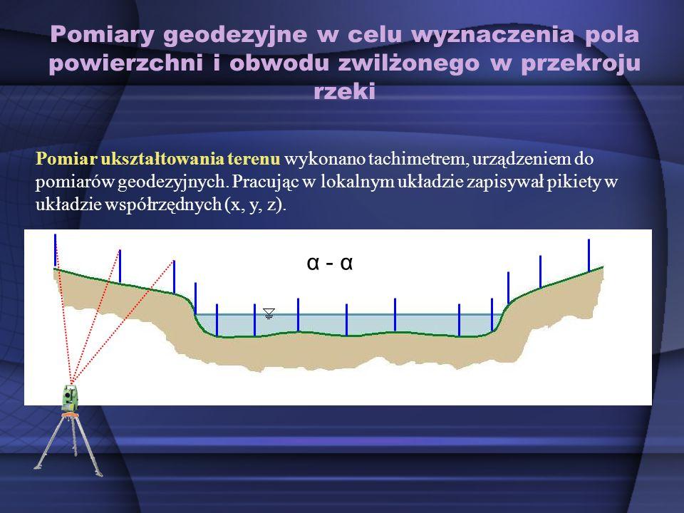 Pomiary geodezyjne w celu wyznaczenia pola powierzchni i obwodu zwilżonego w przekroju rzeki
