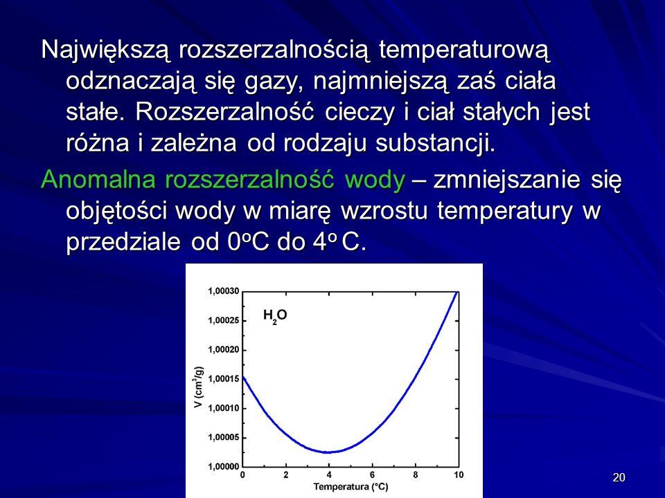 Największą rozszerzalnością temperaturową odznaczają się gazy, najmniejszą zaś ciała stałe. Rozszerzalność cieczy i ciał stałych jest różna i zależna od rodzaju substancji.