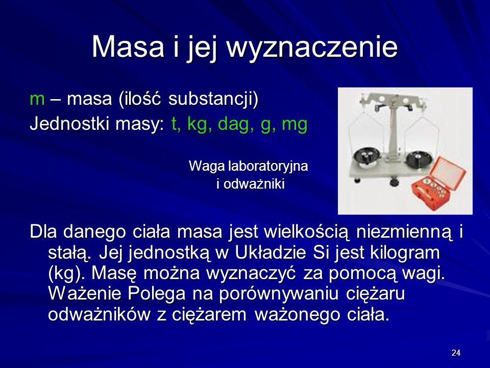 Masa i jej wyznaczenie m – masa (ilość substancji)