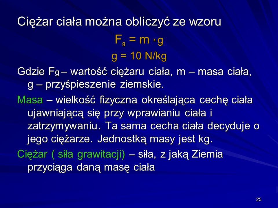 Ciężar ciała można obliczyć ze wzoru Fg = m x g