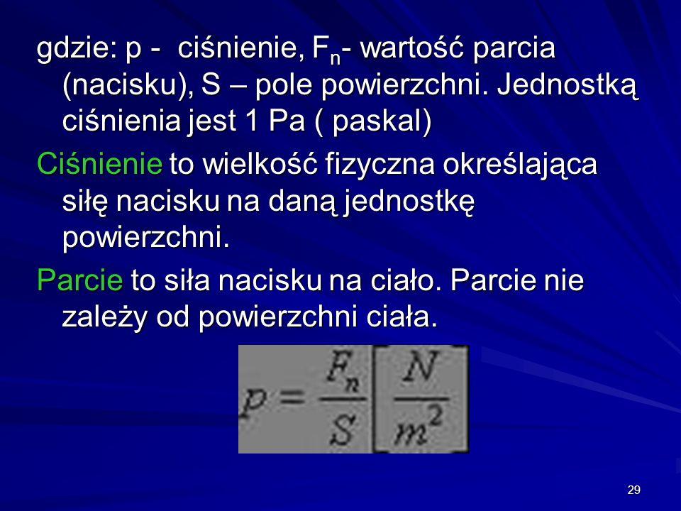 gdzie: p - ciśnienie, Fn- wartość parcia (nacisku), S – pole powierzchni. Jednostką ciśnienia jest 1 Pa ( paskal)