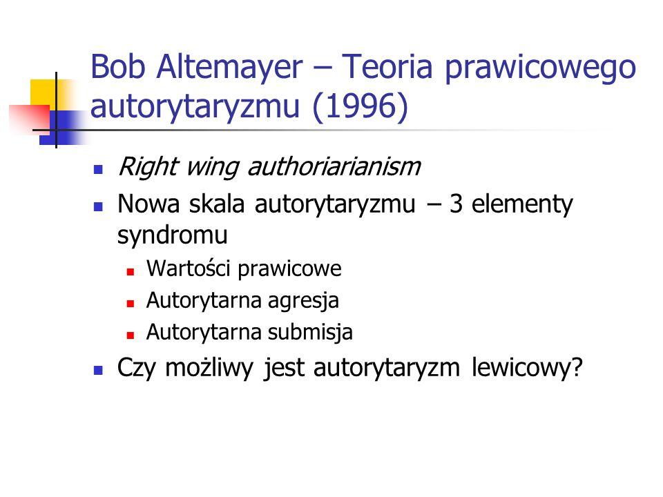 Bob Altemayer – Teoria prawicowego autorytaryzmu (1996)