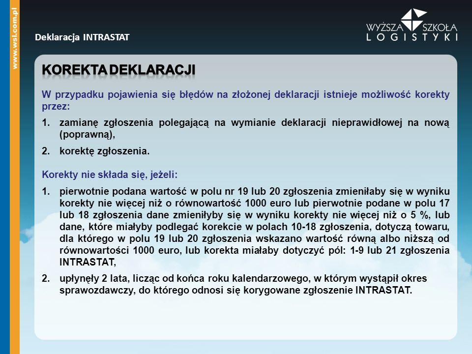 Korekta deklaracji Deklaracja INTRASTAT