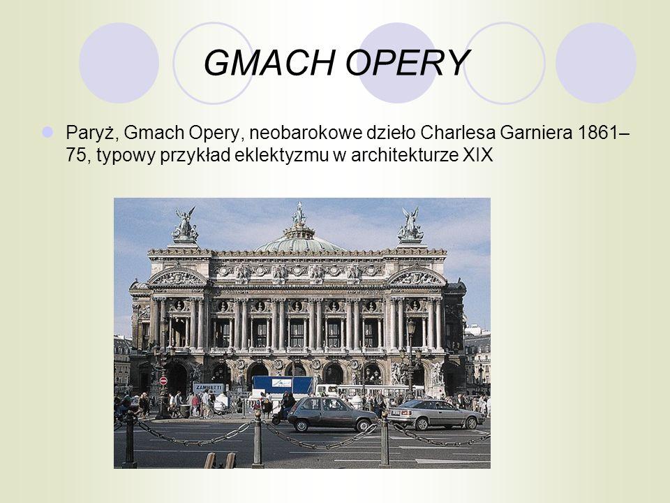 GMACH OPERY Paryż, Gmach Opery, neobarokowe dzieło Charlesa Garniera 1861–75, typowy przykład eklektyzmu w architekturze XIX.