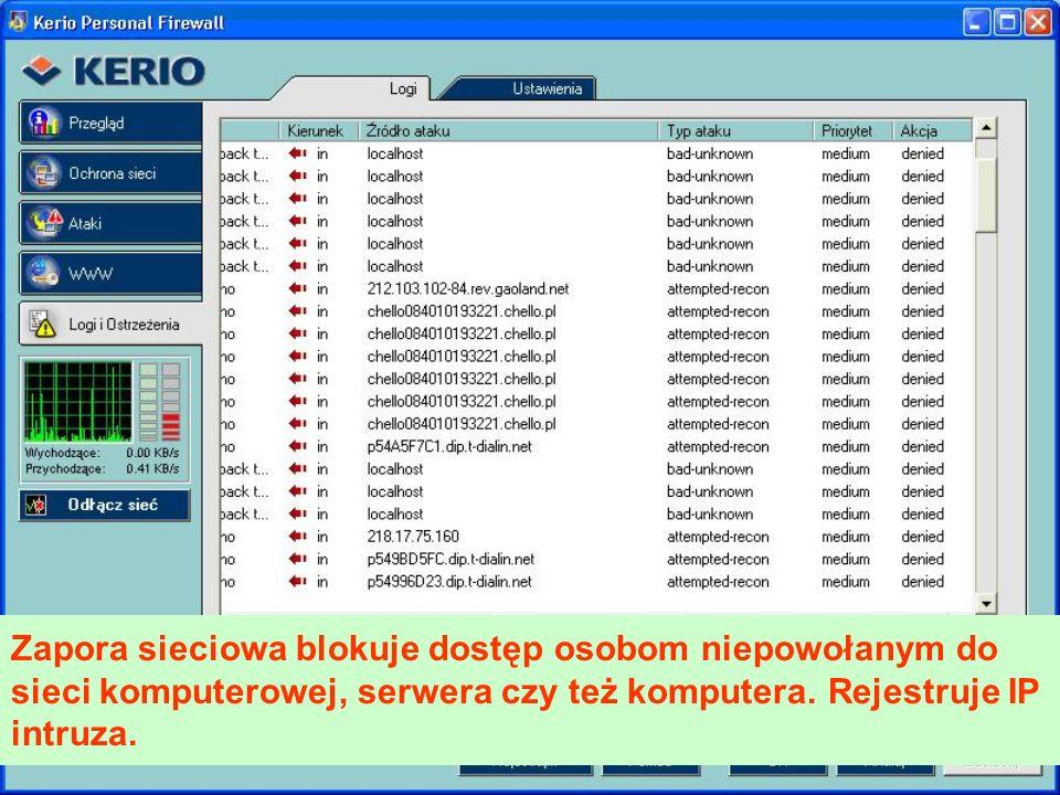 Zapora sieciowa blokuje dostęp osobom niepowołanym do sieci komputerowej, serwera czy też komputera.