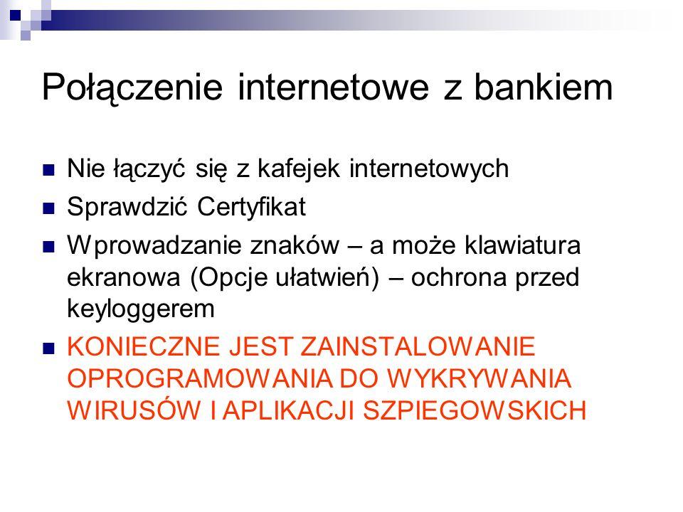 Połączenie internetowe z bankiem