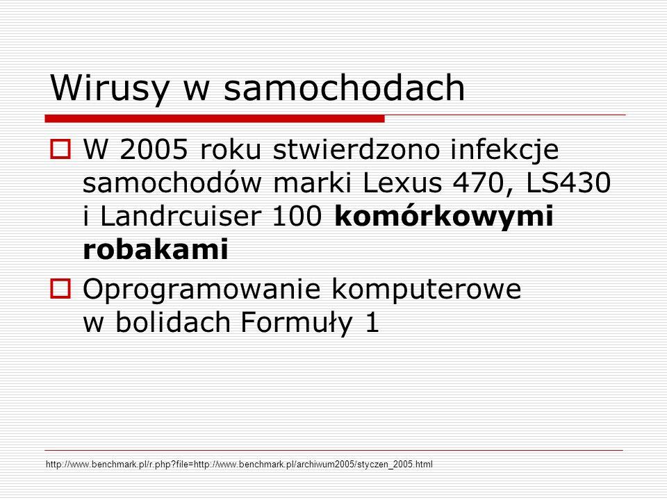 Wirusy w samochodach W 2005 roku stwierdzono infekcje samochodów marki Lexus 470, LS430 i Landrcuiser 100 komórkowymi robakami.