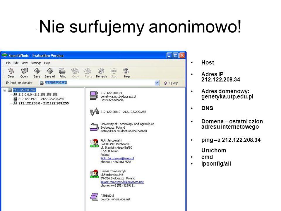 Nie surfujemy anonimowo!