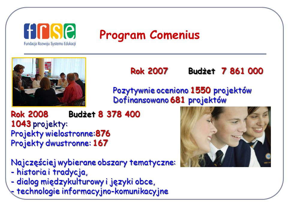 Program Comenius Rok 2007 Budżet 7 861 000
