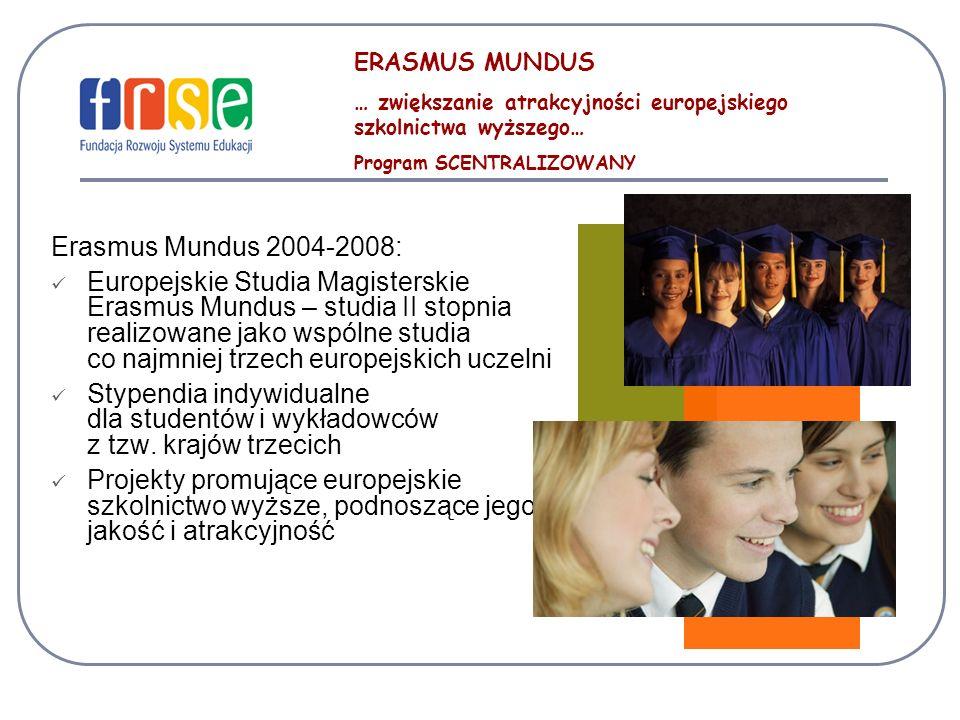 ERASMUS MUNDUS … zwiększanie atrakcyjności europejskiego szkolnictwa wyższego… Program SCENTRALIZOWANY.