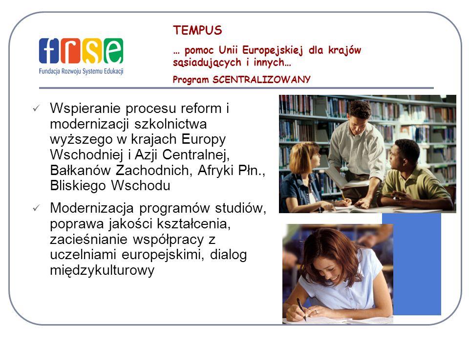 TEMPUS … pomoc Unii Europejskiej dla krajów sąsiadujących i innych… Program SCENTRALIZOWANY.