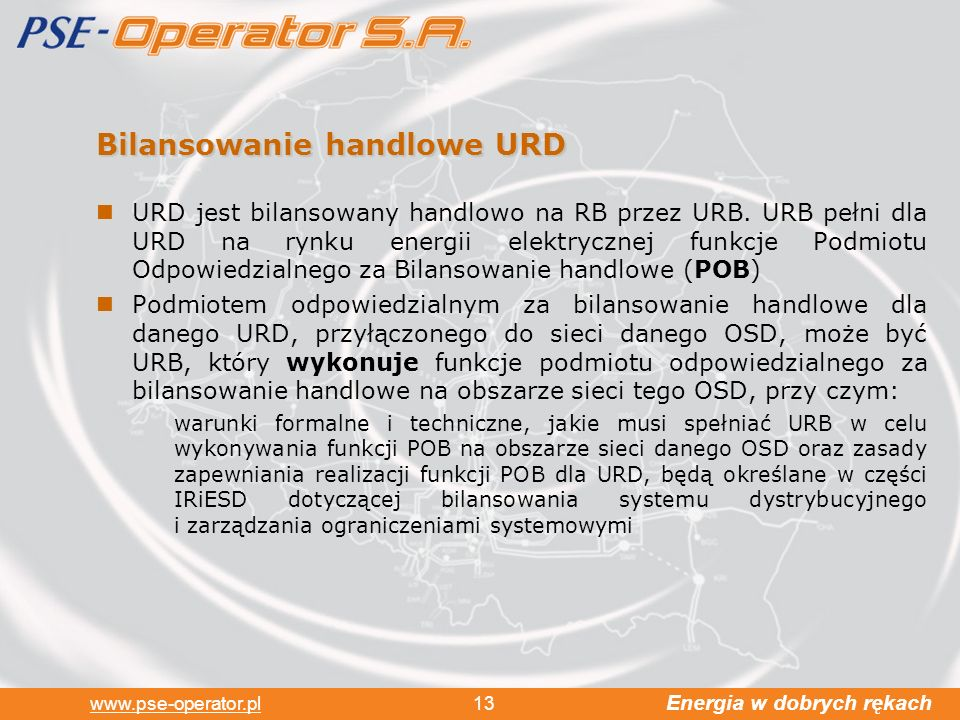 Bilansowanie handlowe URD