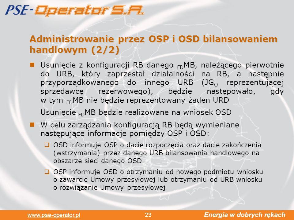 Administrowanie przez OSP i OSD bilansowaniem handlowym (2/2)