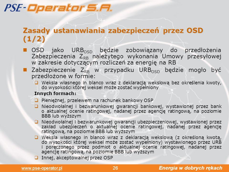 Zasady ustanawiania zabezpieczeń przez OSD (1/2)