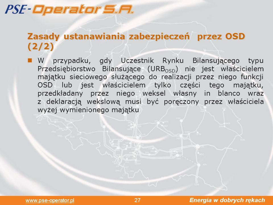 Zasady ustanawiania zabezpieczeń przez OSD (2/2)