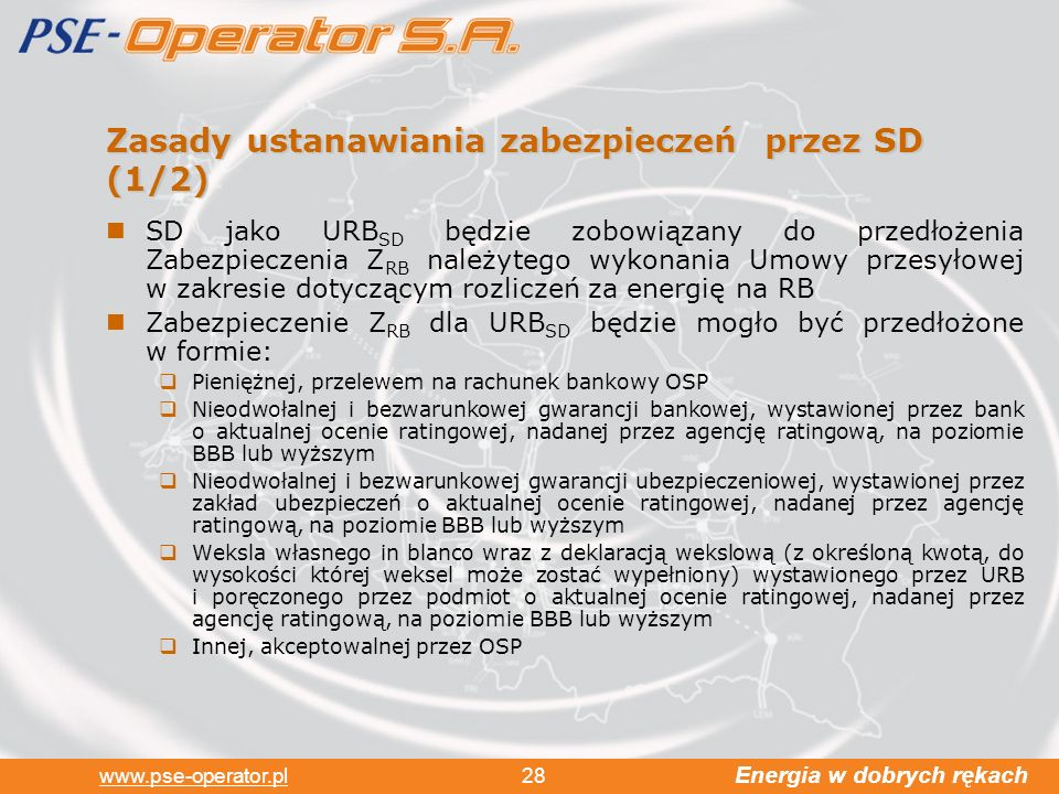 Zasady ustanawiania zabezpieczeń przez SD (1/2)
