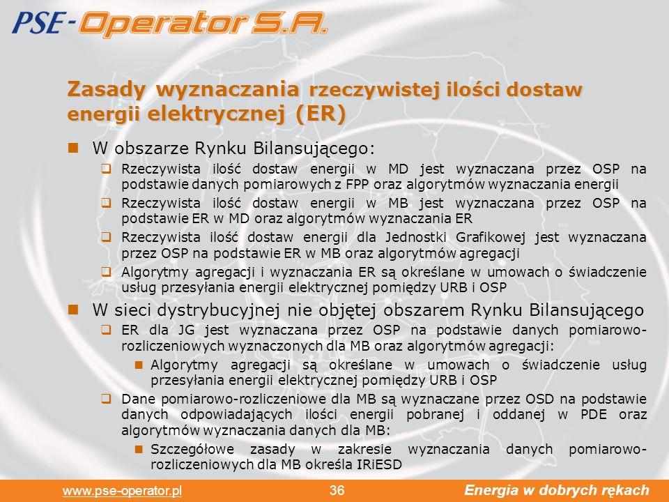Zasady wyznaczania rzeczywistej ilości dostaw energii elektrycznej (ER)
