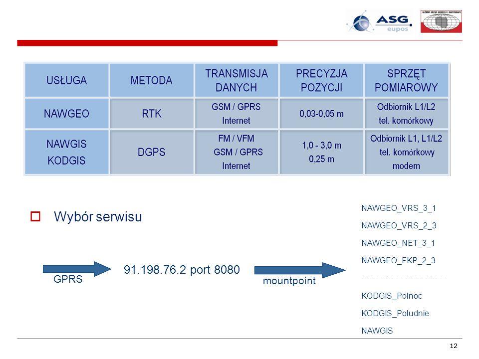 Wybór serwisu 91.198.76.2 port 8080 GPRS mountpoint NAWGEO_VRS_3_1