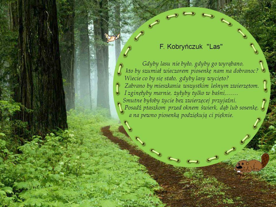 F. Kobryńczuk Las Gdyby lasu nie było, gdyby go wyrąbano, kto by szumiał wieczorem piosenkę nam na dobranoc Wiecie co by się stało, gdyby lasy wycięto Zabrano by mieszkania wszystkim leśnym zwierzętom. I zginęłyby marnie, żyłyby tylko w baśni,…… Smutne byłoby życie bez zwierzęcej przyjaźni. Posadź ptaszkom przed oknem świerk, dąb lub sosenkę,