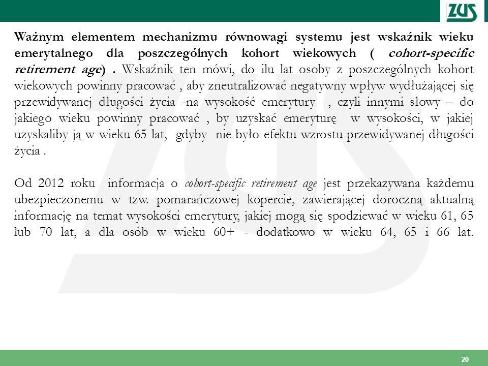 Ważnym elementem mechanizmu równowagi systemu jest wskaźnik wieku emerytalnego dla poszczególnych kohort wiekowych ( cohort-specific retirement age) . Wskaźnik ten mówi, do ilu lat osoby z poszczególnych kohort wiekowych powinny pracować , aby zneutralizować negatywny wpływ wydłużającej się przewidywanej długości życia -na wysokość emerytury , czyli innymi słowy – do jakiego wieku powinny pracować , by uzyskać emeryturę w wysokości, w jakiej uzyskaliby ją w wieku 65 lat, gdyby nie było efektu wzrostu przewidywanej długości życia .
