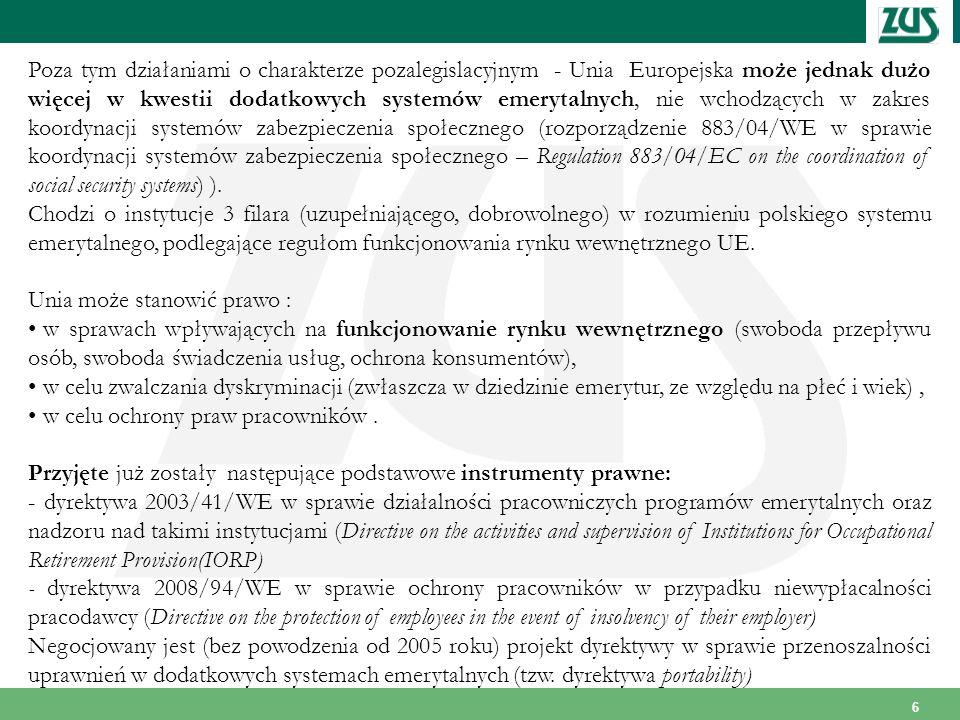 Poza tym działaniami o charakterze pozalegislacyjnym - Unia Europejska może jednak dużo więcej w kwestii dodatkowych systemów emerytalnych, nie wchodzących w zakres koordynacji systemów zabezpieczenia społecznego (rozporządzenie 883/04/WE w sprawie koordynacji systemów zabezpieczenia społecznego – Regulation 883/04/EC on the coordination of social security systems) ).