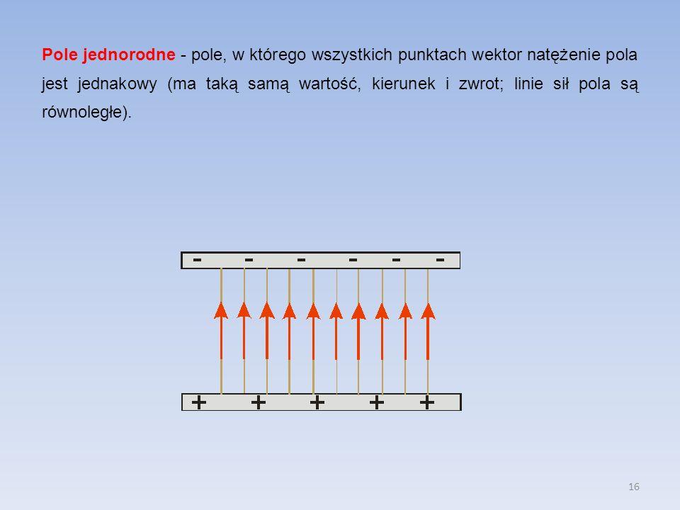 Pole jednorodne - pole, w którego wszystkich punktach wektor natężenie pola jest jednakowy (ma taką samą wartość, kierunek i zwrot; linie sił pola są równoległe).