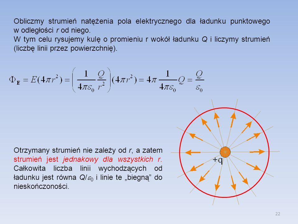 Obliczmy strumień natężenia pola elektrycznego dla ładunku punktowego w odległości r od niego.