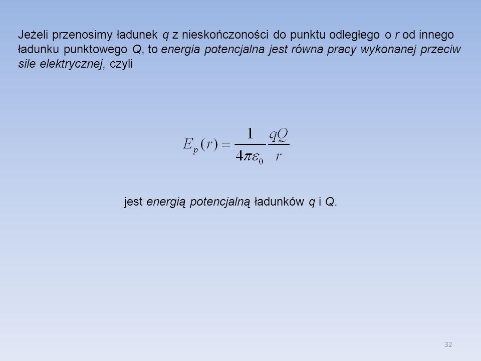 Jeżeli przenosimy ładunek q z nieskończoności do punktu odległego o r od innego ładunku punktowego Q, to energia potencjalna jest równa pracy wykonanej przeciw sile elektrycznej, czyli