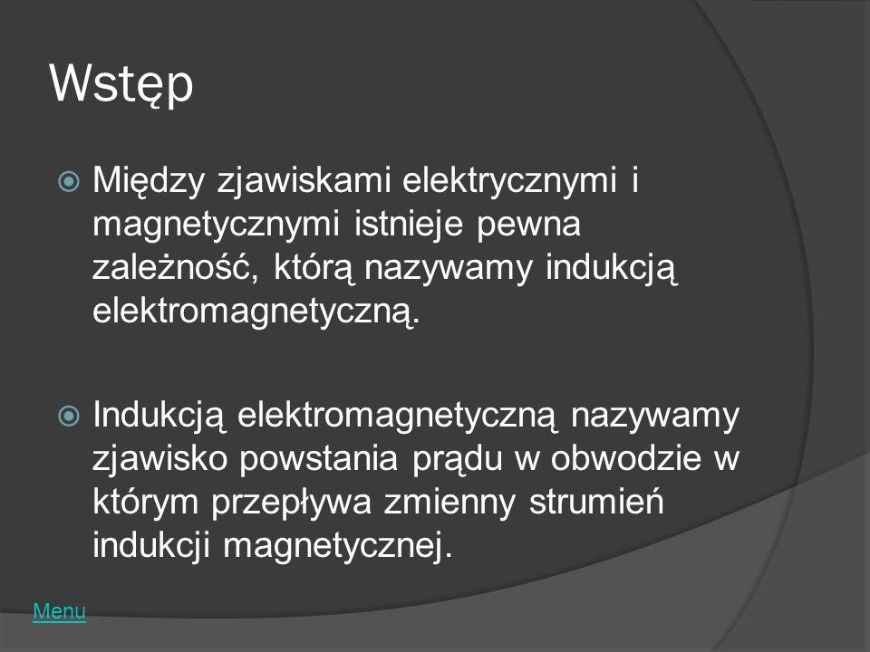 Wstęp Między zjawiskami elektrycznymi i magnetycznymi istnieje pewna zależność, którą nazywamy indukcją elektromagnetyczną.
