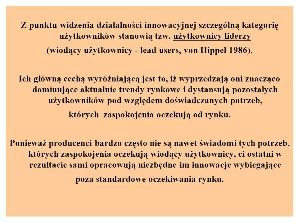 (wiodący użytkownicy - lead users, von Hippel 1986).