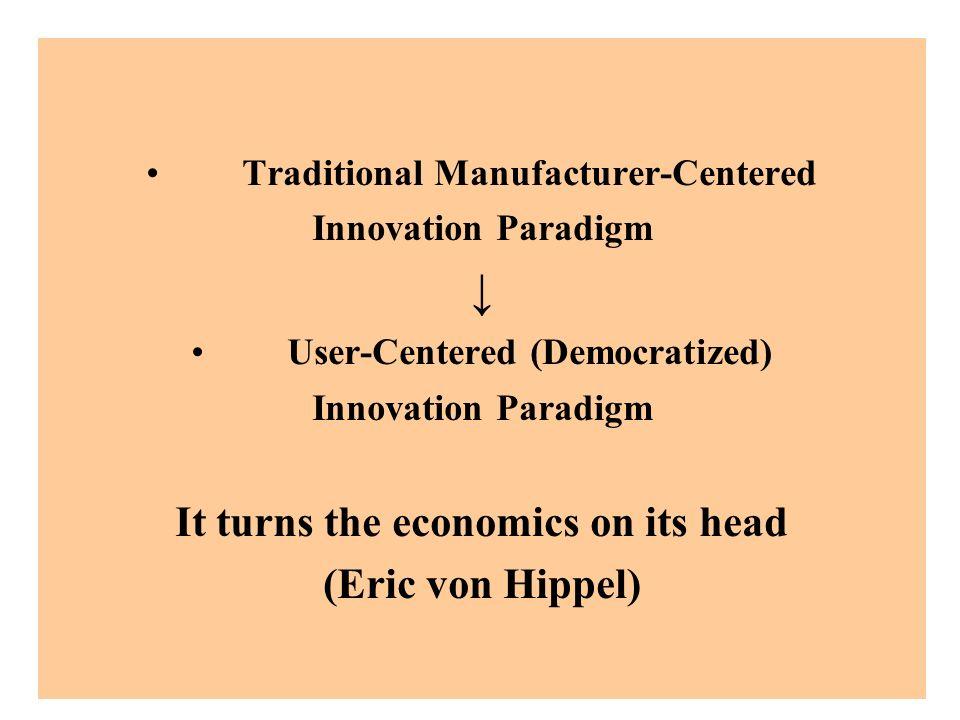 ↓ It turns the economics on its head (Eric von Hippel)