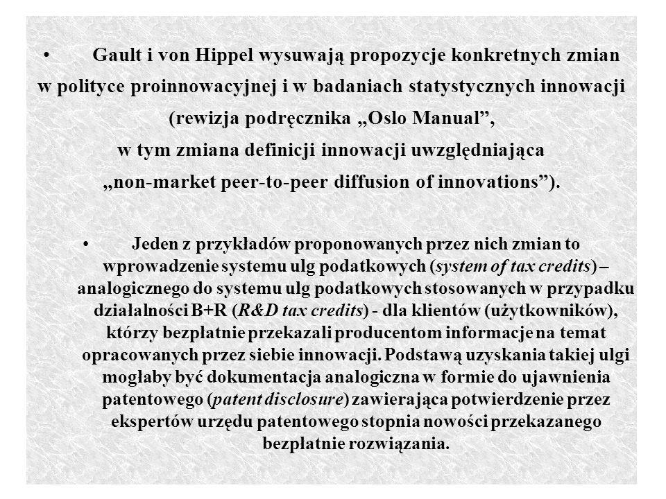 Gault i von Hippel wysuwają propozycje konkretnych zmian