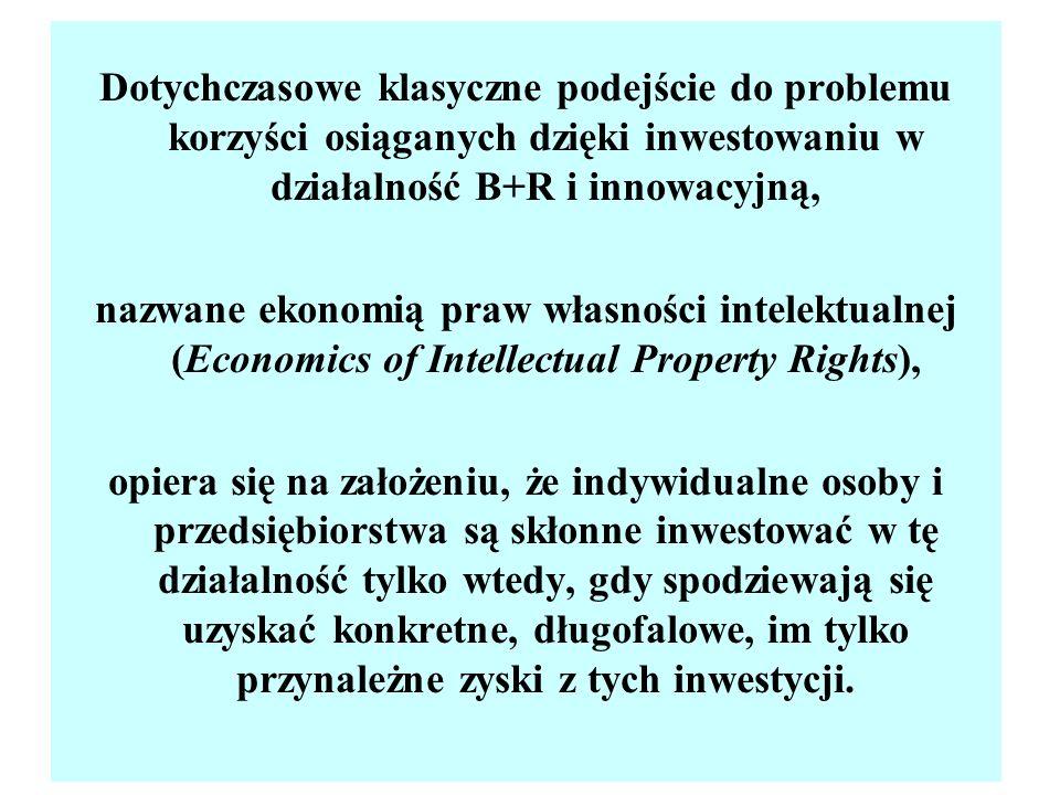 Dotychczasowe klasyczne podejście do problemu korzyści osiąganych dzięki inwestowaniu w działalność B+R i innowacyjną,