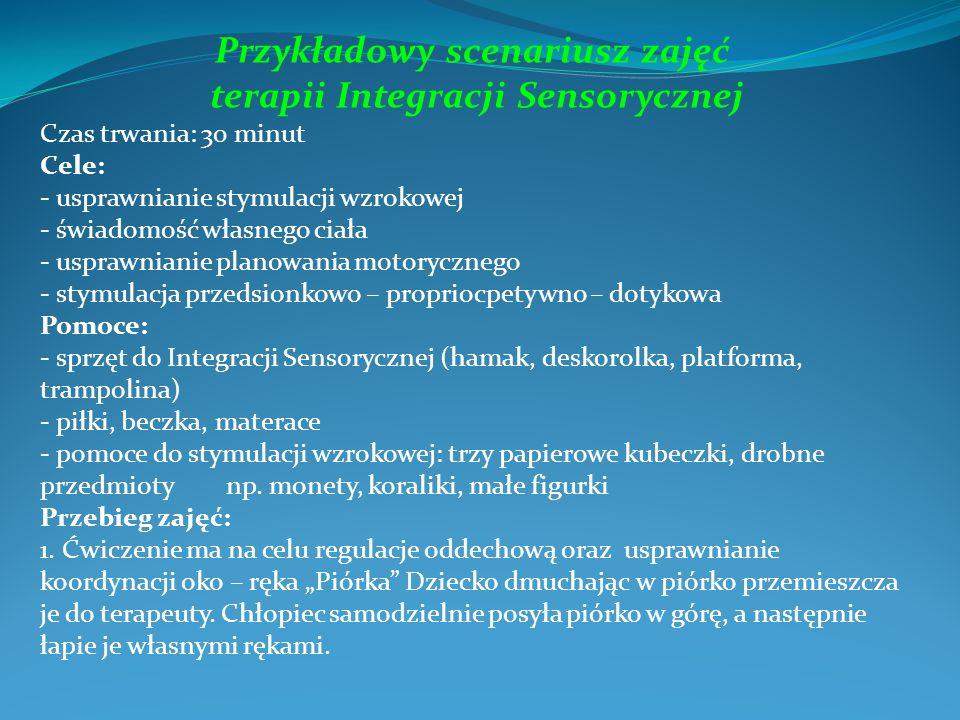 Przykładowy scenariusz zajęć terapii Integracji Sensorycznej