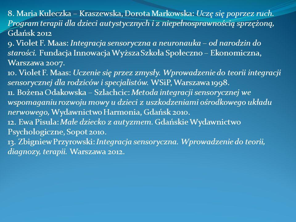 8. Maria Kuleczka – Kraszewska, Dorota Markowska: Uczę się poprzez ruch. Program terapii dla dzieci autystycznych i z niepełnosprawnością sprzężoną, Gdańsk 2012