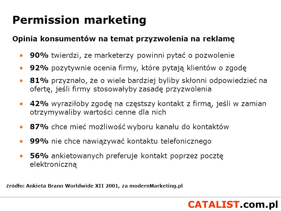 Permission marketing Opinia konsumentów na temat przyzwolenia na reklamę. 90% twierdzi, ze marketerzy powinni pytać o pozwolenie.