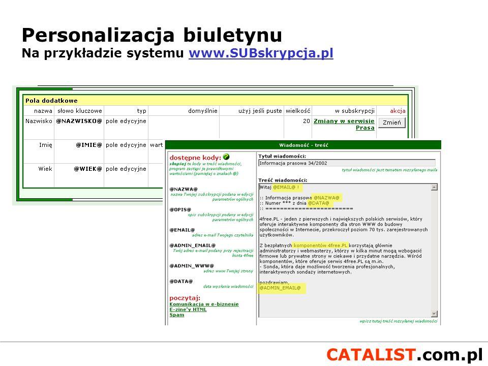 Personalizacja biuletynu Na przykładzie systemu www.SUBskrypcja.pl
