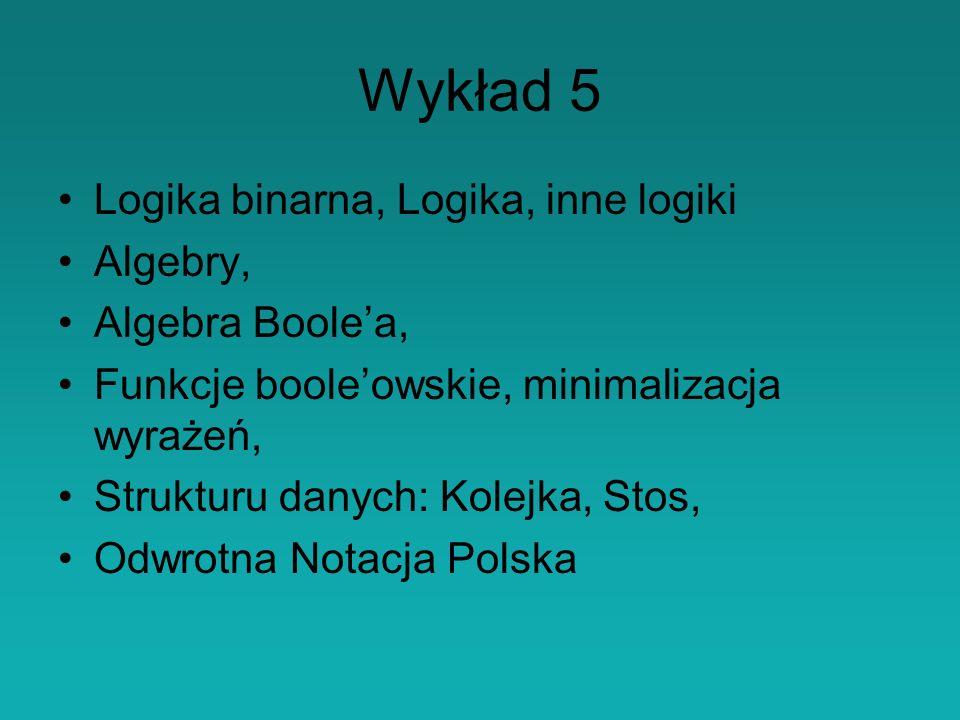 Wykład 5 Logika binarna, Logika, inne logiki Algebry, Algebra Boole'a,