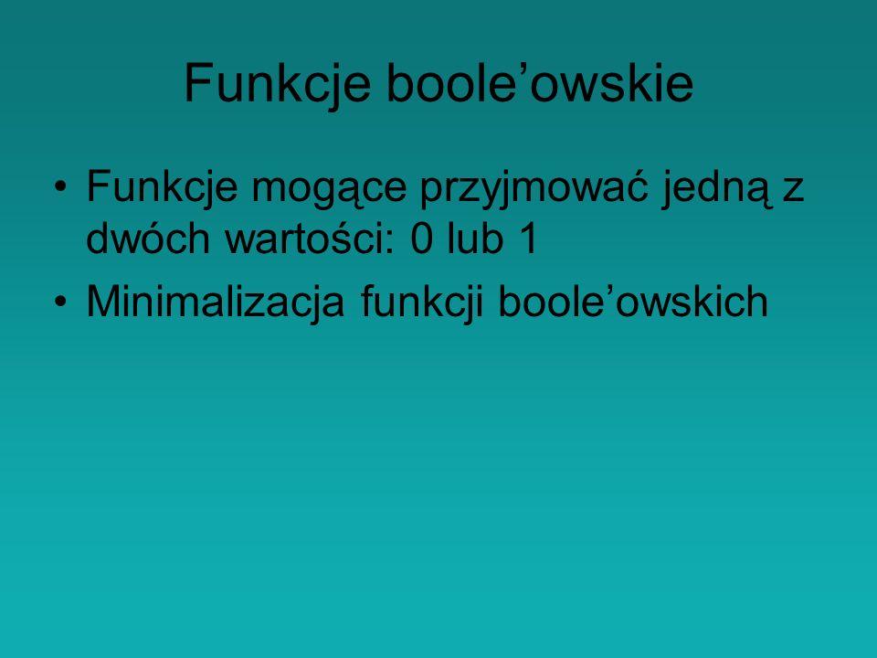 Funkcje boole'owskie Funkcje mogące przyjmować jedną z dwóch wartości: 0 lub 1. Minimalizacja funkcji boole'owskich.