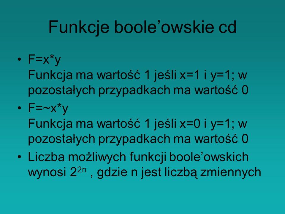 Funkcje boole'owskie cd