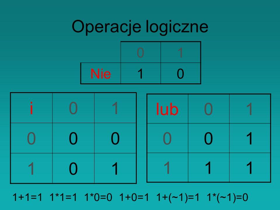 Operacje logiczne i 1 lub 1 1 Nie