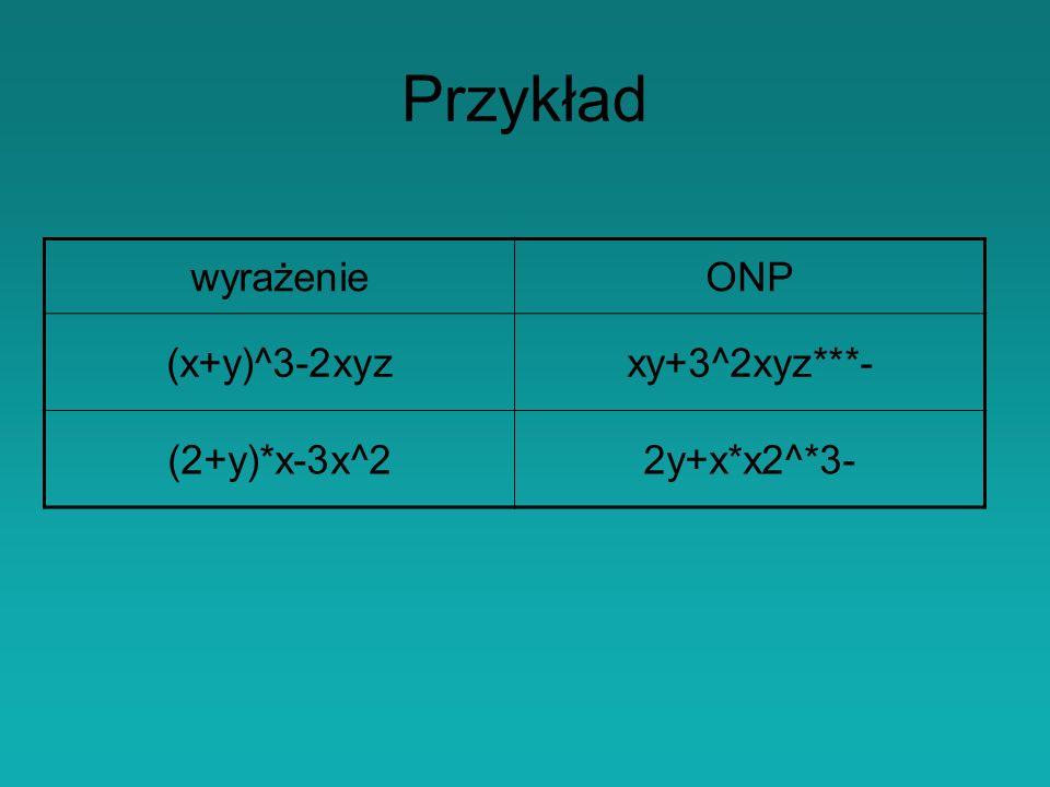 Przykład wyrażenie ONP (x+y)^3-2xyz xy+3^2xyz***- (2+y)*x-3x^2