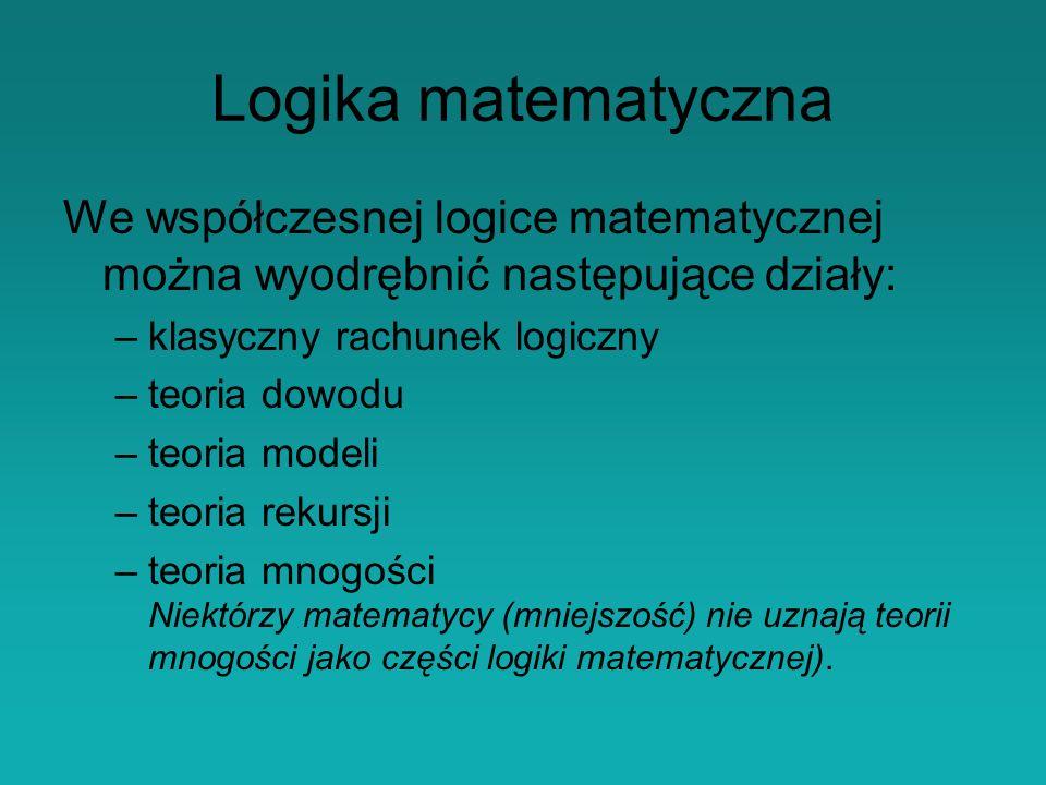 Logika matematyczna We współczesnej logice matematycznej można wyodrębnić następujące działy: klasyczny rachunek logiczny.