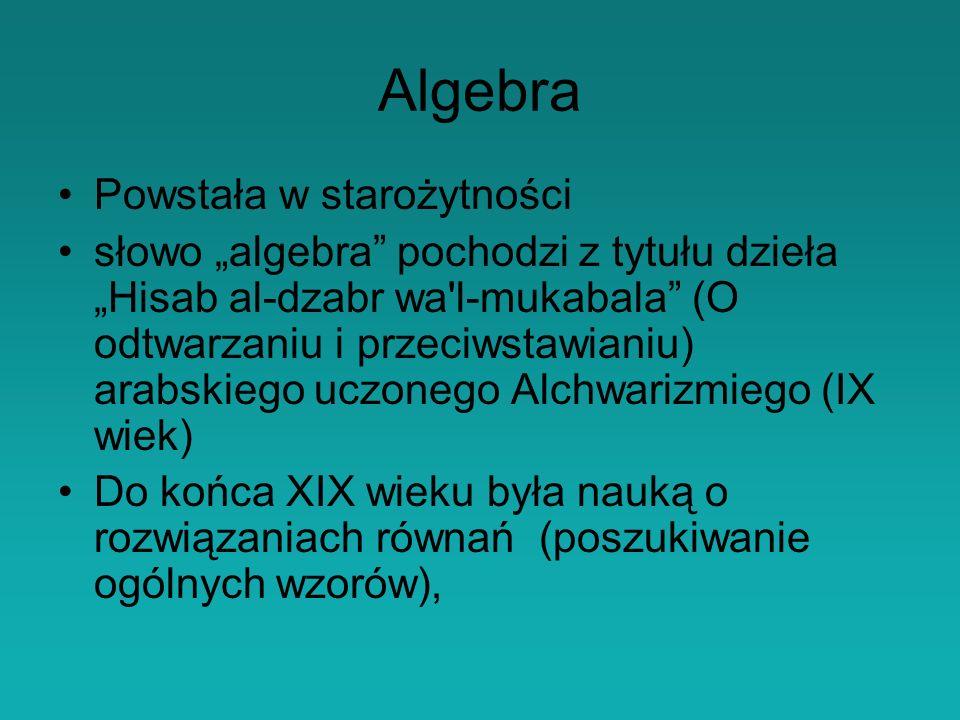 Algebra Powstała w starożytności