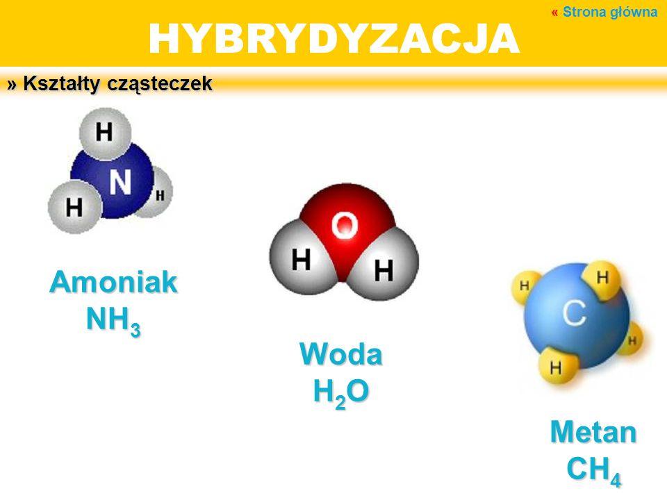 HYBRYDYZACJA Amoniak NH3 Woda H2O Metan CH4 » Kształty cząsteczek