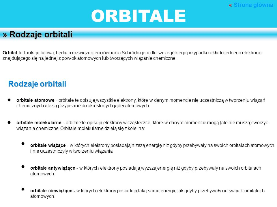 ORBITALE • • • • • » Rodzaje orbitali Rodzaje orbitali « Strona główna