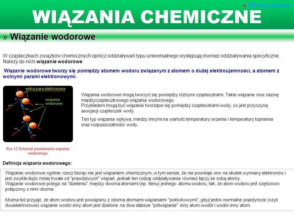 WIĄZANIA CHEMICZNE » Wiązanie wodorowe « Strona główna
