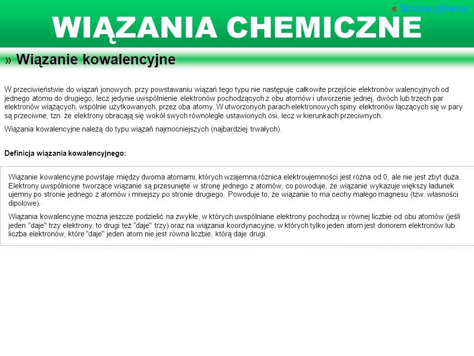 WIĄZANIA CHEMICZNE » Wiązanie kowalencyjne « Strona główna