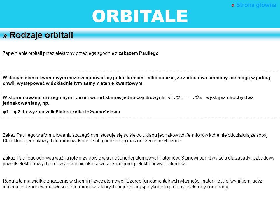 ORBITALE » Rodzaje orbitali « Strona główna
