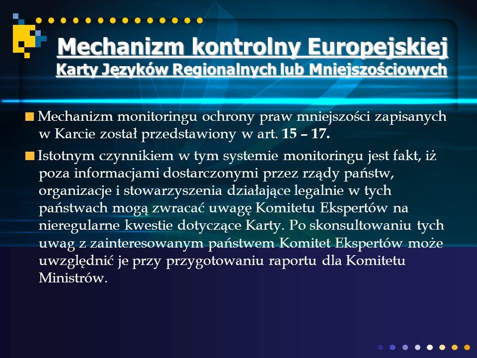 Mechanizm kontrolny Europejskiej Karty Języków Regionalnych lub Mniejszościowych